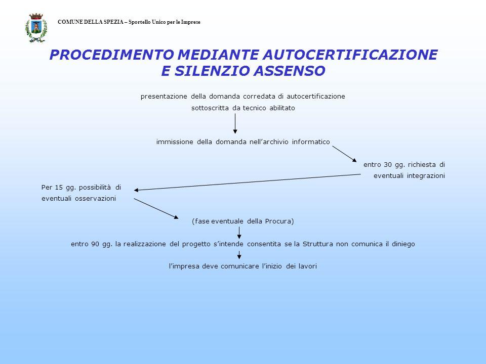 presentazione della domanda corredata di autocertificazione sottoscritta da tecnico abilitato immissione della domanda nellarchivio informatico entro 30 gg.