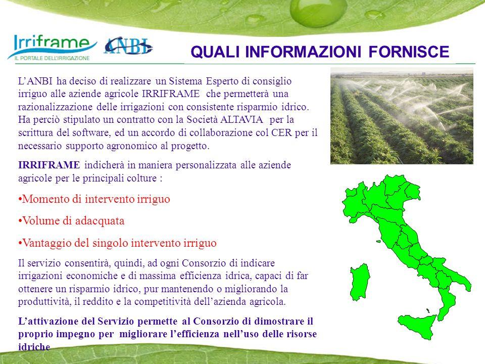 LANBI ha deciso di realizzare un Sistema Esperto di consiglio irriguo alle aziende agricole IRRIFRAME che permetterà una razionalizzazione delle irrigazioni con consistente risparmio idrico.