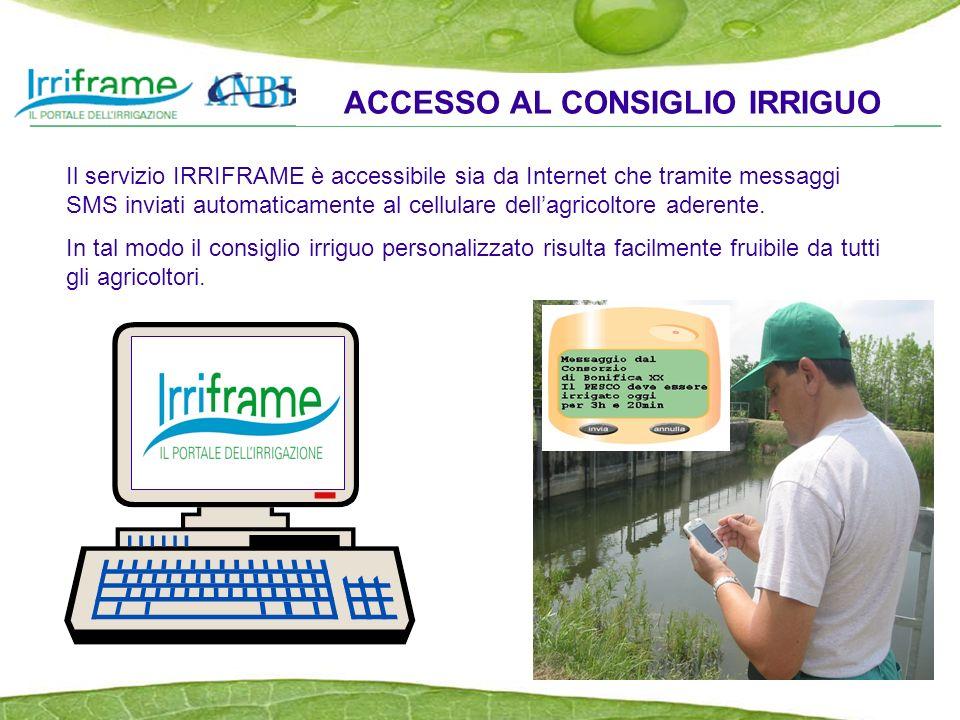 ACCESSO AL CONSIGLIO IRRIGUO Il servizio IRRIFRAME è accessibile sia da Internet che tramite messaggi SMS inviati automaticamente al cellulare dellagricoltore aderente.