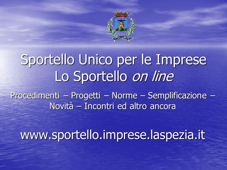 Sportello Unico per le Imprese Lo Sportello on line Procedimenti – Progetti – Norme – Semplificazione – Novità – Incontri ed altro ancora www.sportello.imprese.laspezia.it