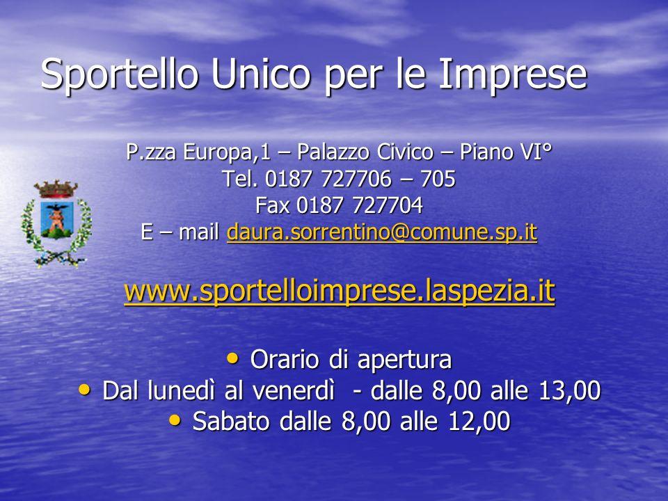 Sportello Unico per le Imprese P.zza Europa,1 – Palazzo Civico – Piano VI° Tel.