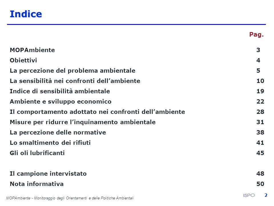 MOPAmbiente - Monitoraggio degli Orientamenti e delle Politiche Ambientali 2Indice Pag. MOPAmbiente3 Obiettivi4 La percezione del problema ambientale5