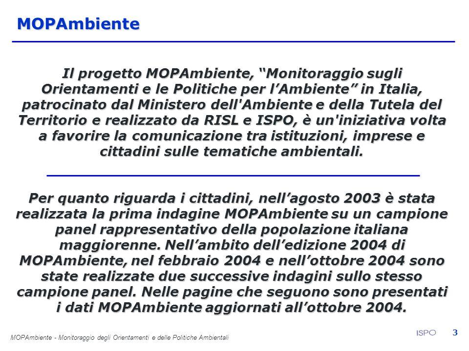 MOPAmbiente - Monitoraggio degli Orientamenti e delle Politiche Ambientali 3MOPAmbiente Il progetto MOPAmbiente, Monitoraggio sugli Orientamenti e le