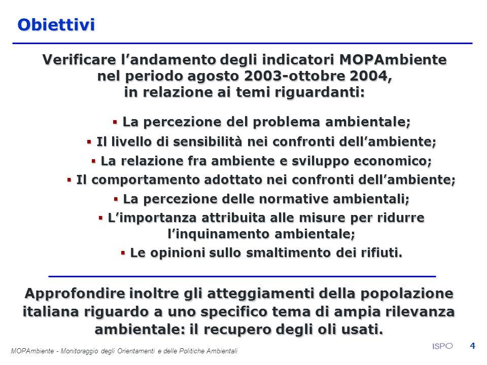 MOPAmbiente - Monitoraggio degli Orientamenti e delle Politiche Ambientali 4Obiettivi Verificare landamento degli indicatori MOPAmbiente nel periodo a