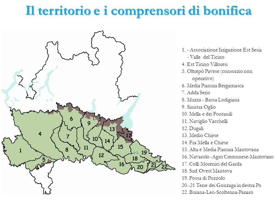 Inquadramento del territorio di bonifica Canali in gestione ai consorzi di bonifica: 19.359 km Canali irrigui: 13.513 Km (69.9%) Canali di bonifica: 2.814 km (14.5%) Canali promiscui: 3.013 km (15,6%) Densità rete: 1,78 km/km 2