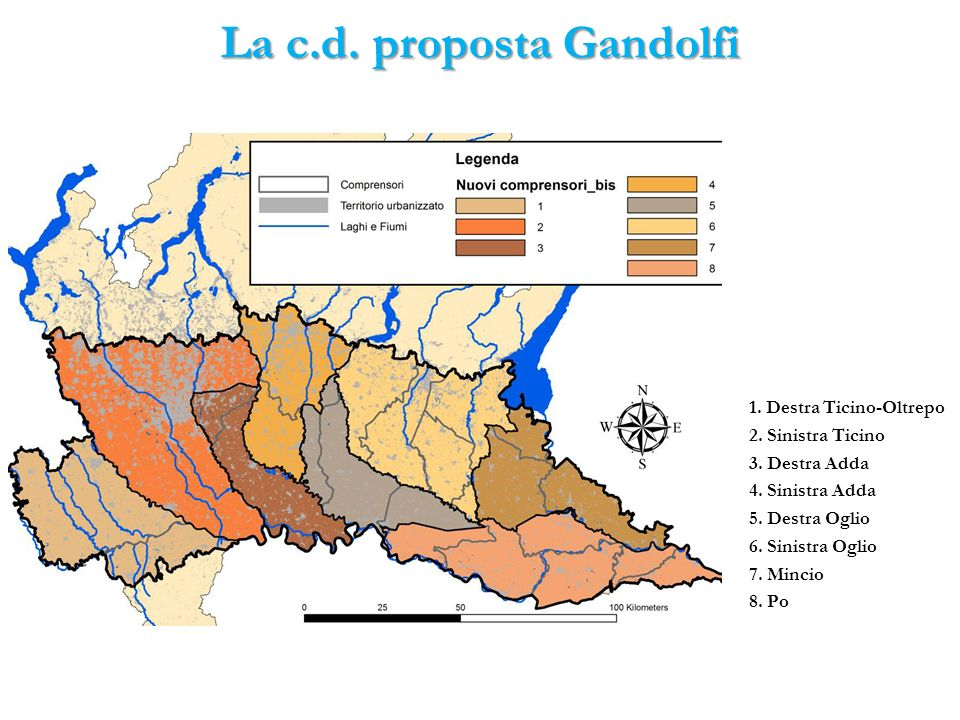 La c.d. proposta Gandolfi 1. Destra Ticino-Oltrepo 2. Sinistra Ticino 3. Destra Adda 4. Sinistra Adda 5. Destra Oglio 6. Sinistra Oglio 7. Mincio 8. P