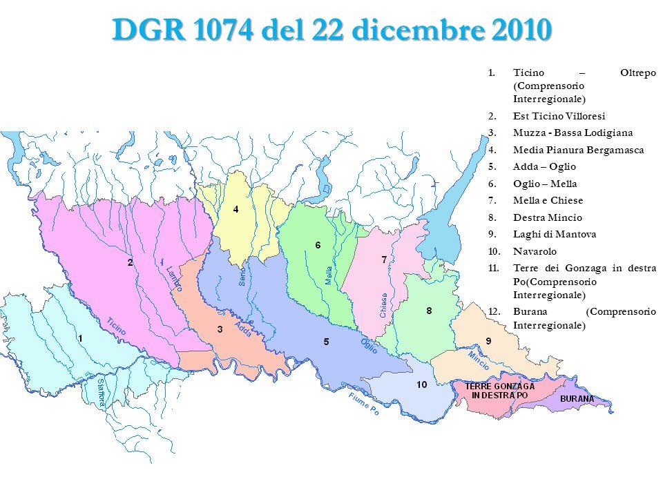DGR 1074 del 22 dicembre 2010 1.Ticino – Oltrepo (Comprensorio Interregionale) 2.Est Ticino Villoresi 3.Muzza - Bassa Lodigiana 4.Media Pianura Bergam
