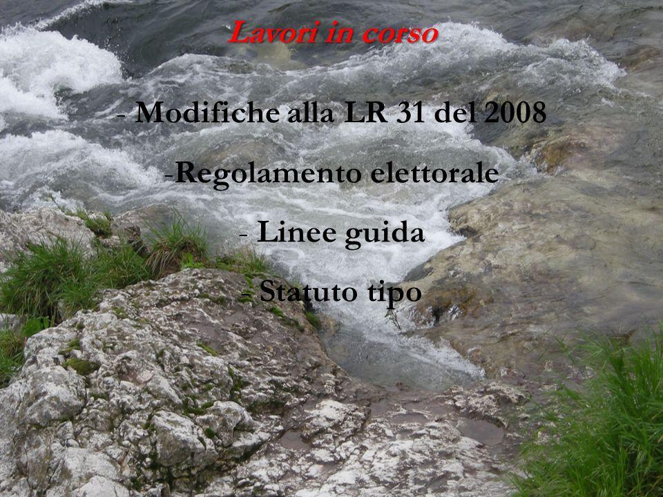 Lavori in corso - - Modifiche alla LR 31 del 2008 -Regolamento elettorale - Linee guida - Statuto tipo