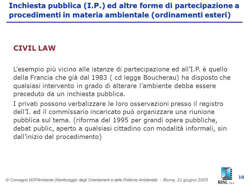 IV Convegno MOPAmbiente (Monitoraggio degli Orientamenti e delle Politiche Ambientali) - Roma, 21 giugno 2005 18 Inchiesta pubblica (I.P.) ed altre forme di partecipazione a procedimenti in materia ambientale (ordinamenti esteri) CIVIL LAW Lesempio più vicino alle istanze di partecipazione ed allI.P.