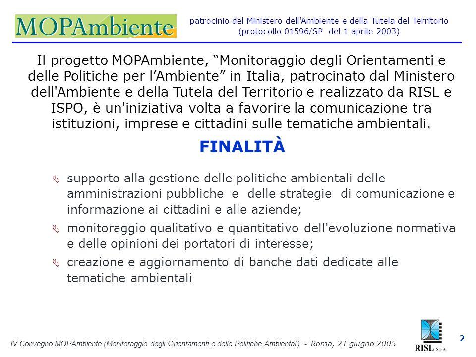IV Convegno MOPAmbiente (Monitoraggio degli Orientamenti e delle Politiche Ambientali) - Roma, 21 giugno 2005 2 patrocinio del Ministero dell Ambiente e della Tutela del Territorio (protocollo 01596/SP del 1 aprile 2003).