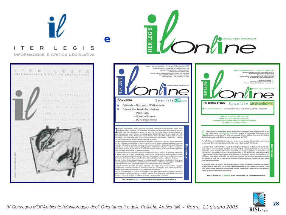 IV Convegno MOPAmbiente (Monitoraggio degli Orientamenti e delle Politiche Ambientali) - Roma, 21 giugno 2005 28 e