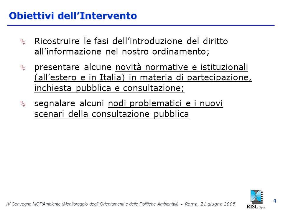 IV Convegno MOPAmbiente (Monitoraggio degli Orientamenti e delle Politiche Ambientali) - Roma, 21 giugno 2005 15 Dal diritto internazionale, al diritto comunitario, al recepimento in Italia Direttiva sulla V.I.A.