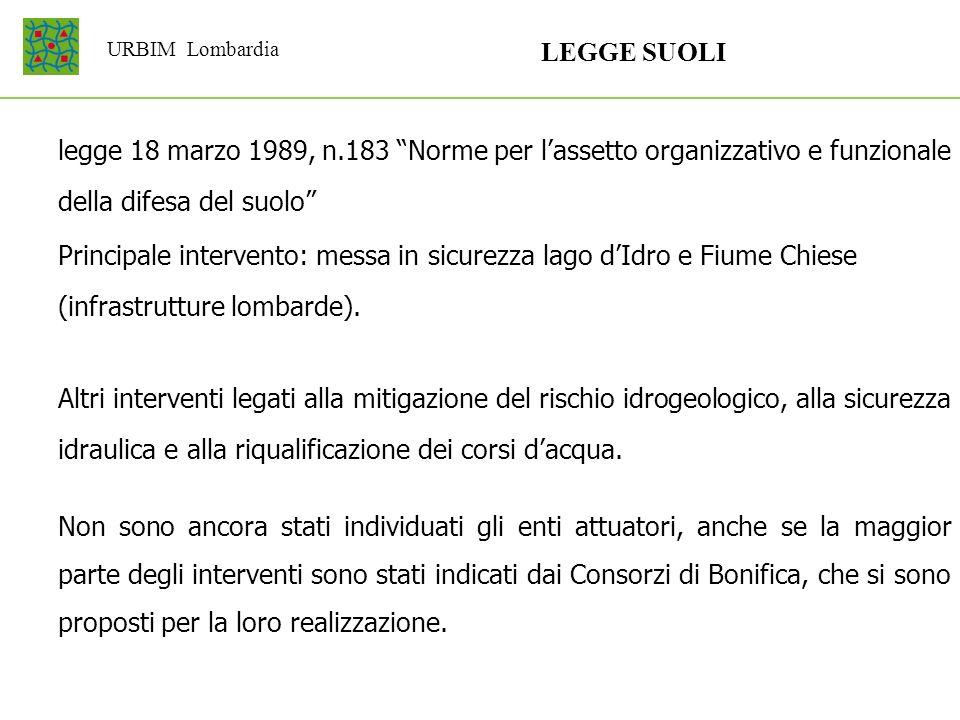 URBIM Lombardia LEGGE SUOLI Principale intervento: messa in sicurezza lago dIdro e Fiume Chiese (infrastrutture lombarde). Altri interventi legati all