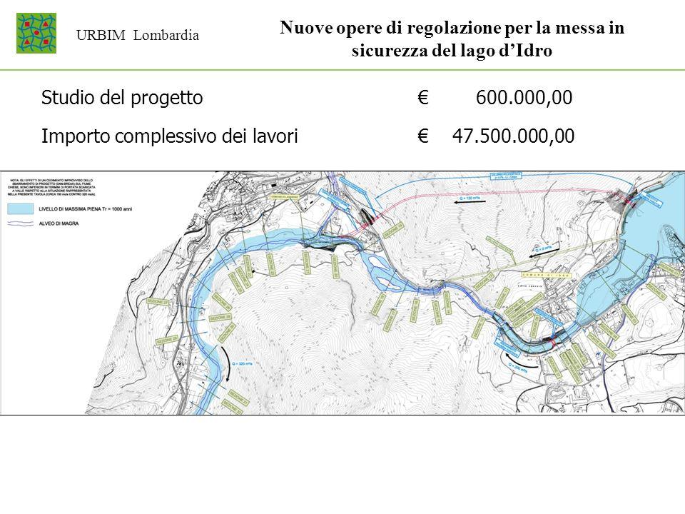 URBIM Lombardia Studio del progetto 600.000,00 Importo complessivo dei lavori 47.500.000,00 Nuove opere di regolazione per la messa in sicurezza del l