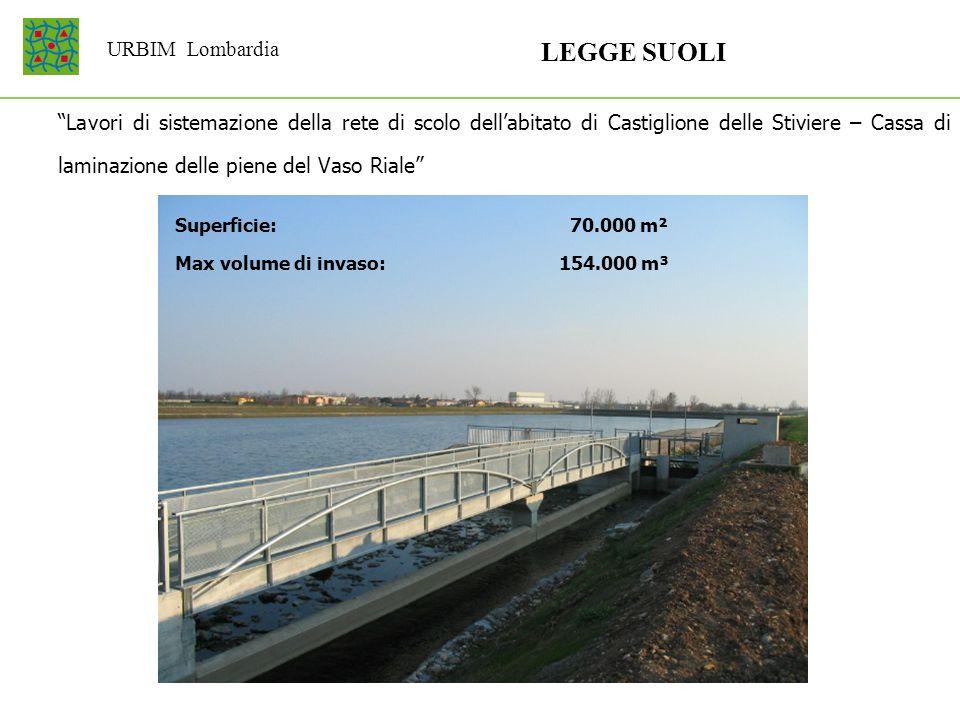 URBIM Lombardia LEGGE SUOLI Lavori di sistemazione della rete di scolo dellabitato di Castiglione delle Stiviere – Cassa di laminazione delle piene de