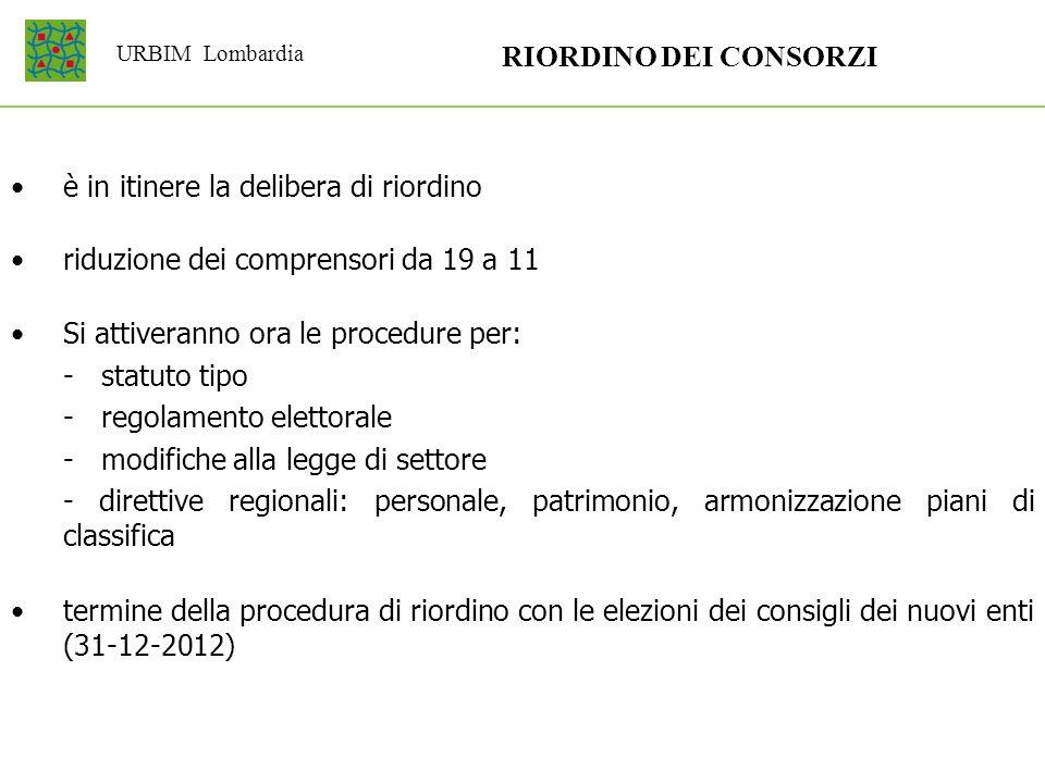 URBIM Lombardia RIORDINO DEI CONSORZI è in itinere la delibera di riordino riduzione dei comprensori da 19 a 11 Si attiveranno ora le procedure per: -