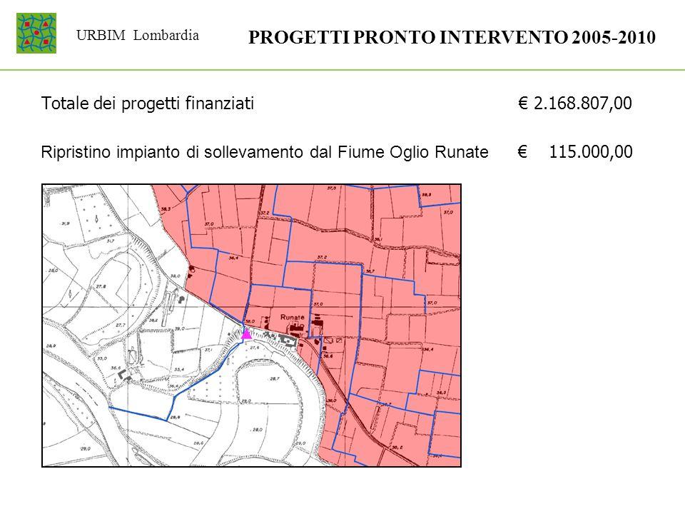 URBIM Lombardia PROGETTI PRONTO INTERVENTO 2005-2010 Totale dei progetti finanziati 2.168.807,00 Ripristino impianto di sollevamento dal Fiume Oglio R