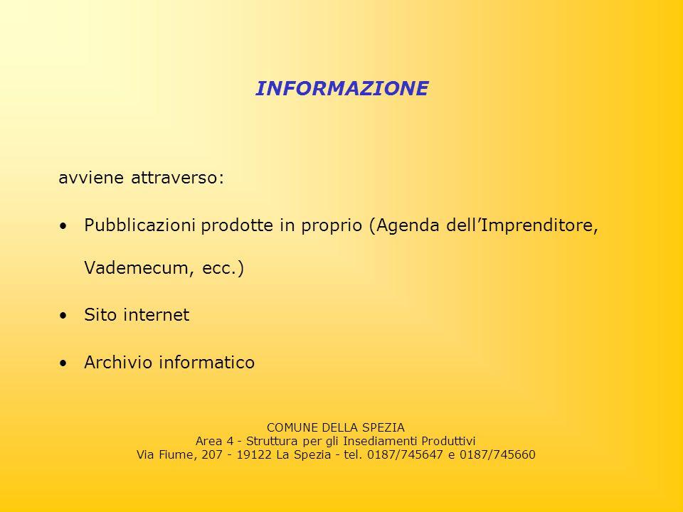 avviene attraverso: Pubblicazioni prodotte in proprio (Agenda dellImprenditore, Vademecum, ecc.) Sito internet Archivio informatico INFORMAZIONE COMUNE DELLA SPEZIA Area 4 - Struttura per gli Insediamenti Produttivi Via Fiume, 207 - 19122 La Spezia - tel.
