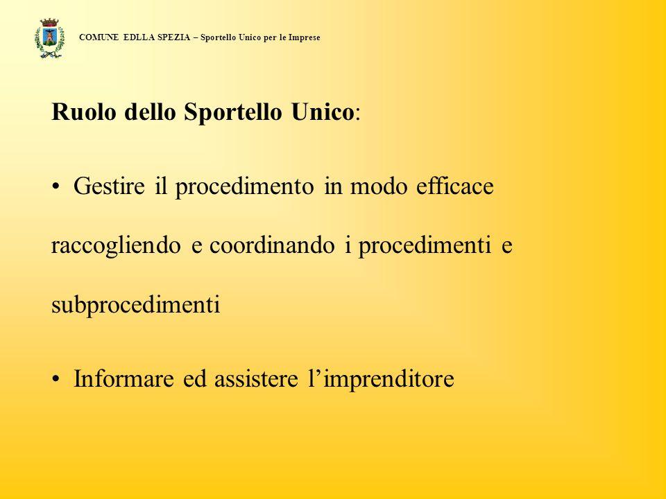 COMUNE EDLLA SPEZIA – Sportello Unico per le Imprese Ruolo dello Sportello Unico: Gestire il procedimento in modo efficace raccogliendo e coordinando i procedimenti e subprocedimenti Informare ed assistere limprenditore