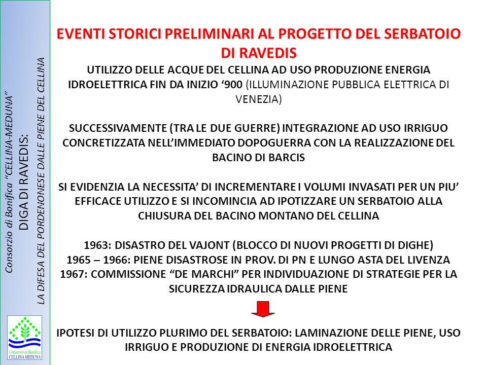 Consorzio di Bonifica CELLINA-MEDUNA DIGA DI RAVEDIS: LA DIFESA DEL PORDENONESE DALLE PIENE DEL CELLINA EVENTI STORICI PRELIMINARI AL PROGETTO DEL SER