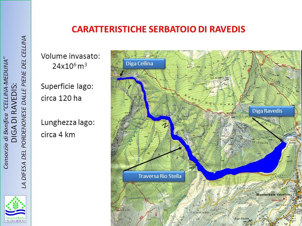 CARATTERISTICHE SERBATOIO DI RAVEDIS Volume invasato: 24x10 6 m 3 Superficie lago: circa 120 ha Lunghezza lago: circa 4 km Diga Cellina Traversa Rio S