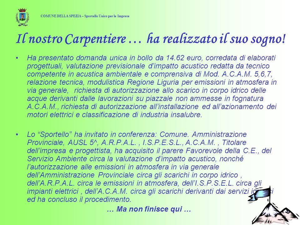 16 Il nostro Carpentiere … ha realizzato il suo sogno! Ha presentato domanda unica in bollo da 14.62 euro, corredata di elaborati progettuali, valutaz
