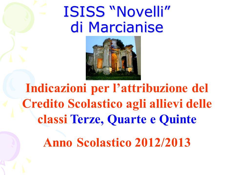ISISS Novelli di Marcianise Indicazioni per lattribuzione del Credito Scolastico agli allievi delle classi Terze, Quarte e Quinte Anno Scolastico 2012
