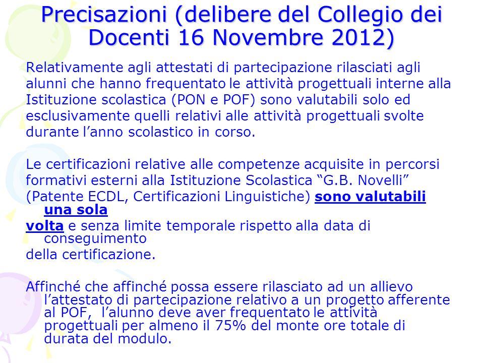 Precisazioni (delibere del Collegio dei Docenti 16 Novembre 2012) Relativamente agli attestati di partecipazione rilasciati agli alunni che hanno freq