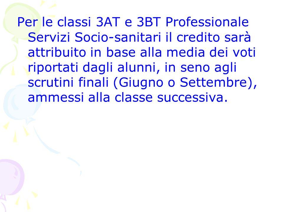 Per le classi 3AT e 3BT Professionale Servizi Socio-sanitari il credito sarà attribuito in base alla media dei voti riportati dagli alunni, in seno ag