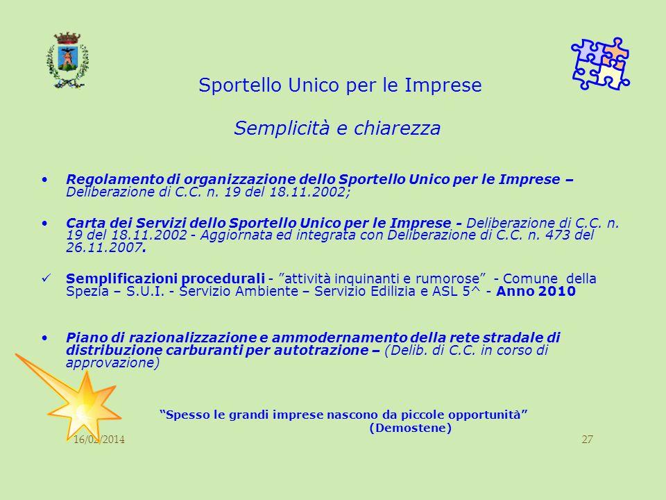 16/02/201427 Sportello Unico per le Imprese Regolamento di organizzazione dello Sportello Unico per le Imprese – Deliberazione di C.C. n. 19 del 18.11