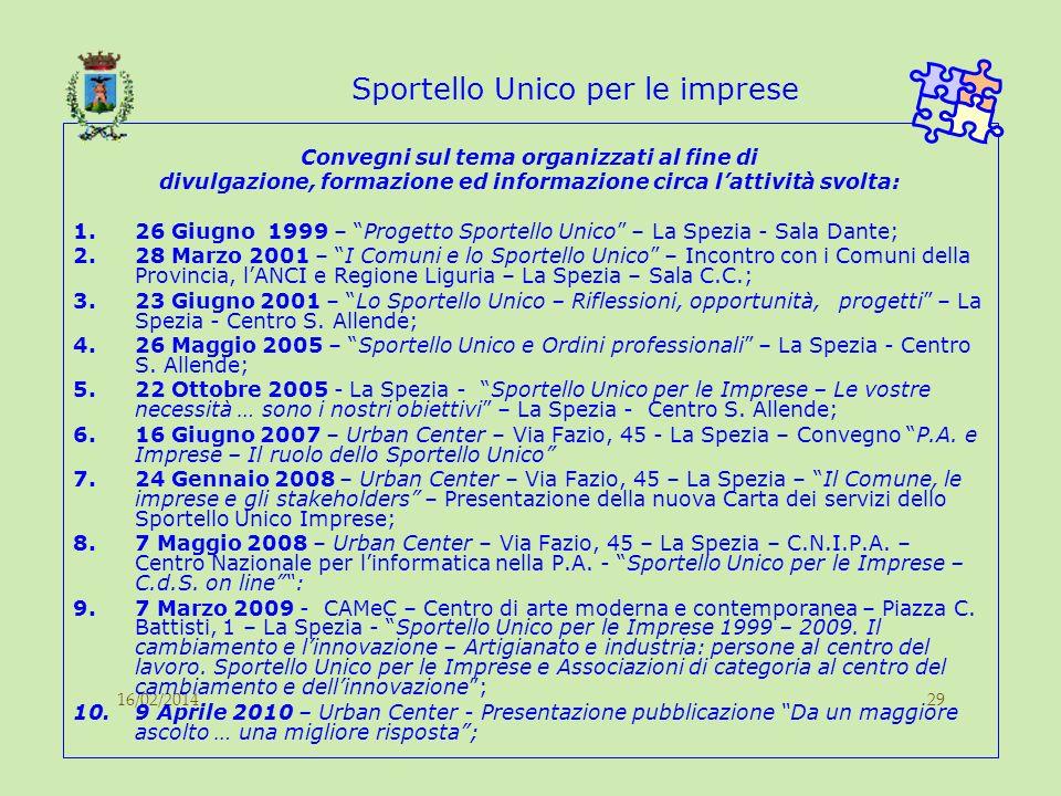 16/02/201429 Sportello Unico per le imprese Convegni sul tema organizzati al fine di divulgazione, formazione ed informazione circa lattività svolta: