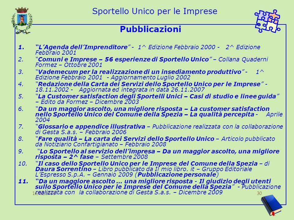16/02/201430 Sportello Unico per le Imprese Pubblicazioni 1.LAgenda dellImprenditore - 1^ Edizione Febbraio 2000 - 2^ Edizione Febbraio 2001 2.Comuni