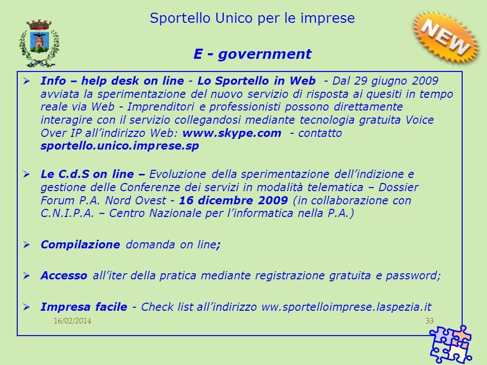 16/02/201433 Sportello Unico per le imprese E - government Info – help desk on line - Lo Sportello in Web - Dal 29 giugno 2009 avviata la sperimentazi