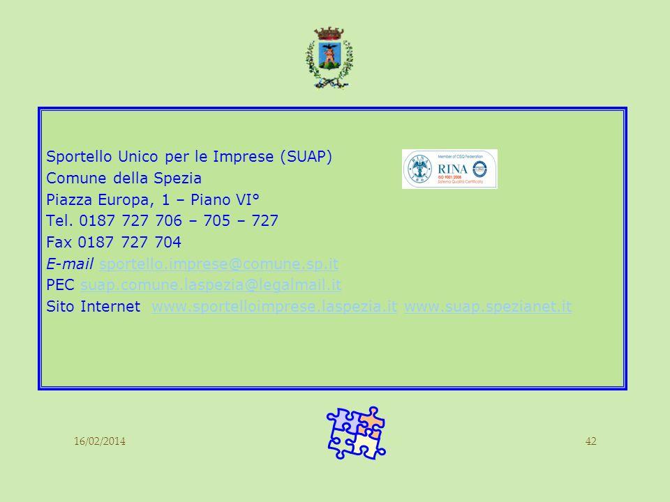 16/02/201442 Sportello Unico per le Imprese (SUAP) Comune della Spezia Piazza Europa, 1 – Piano VI° Tel. 0187 727 706 – 705 – 727 Fax 0187 727 704 E-m