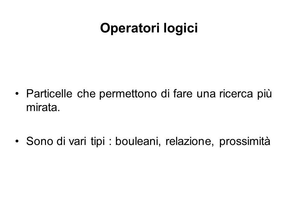 Operatori logici Particelle che permettono di fare una ricerca più mirata.