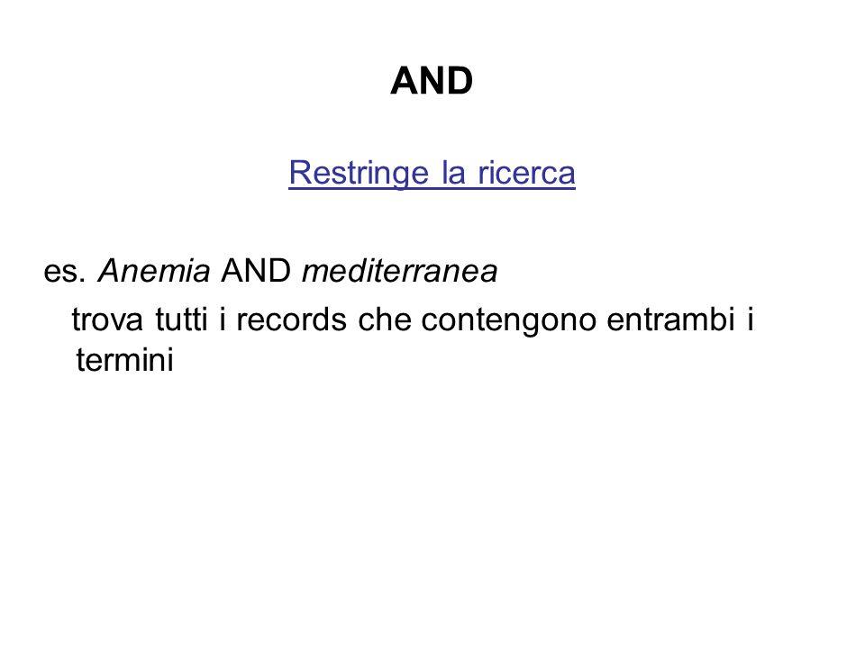 AND Restringe la ricerca es. Anemia AND mediterranea trova tutti i records che contengono entrambi i termini