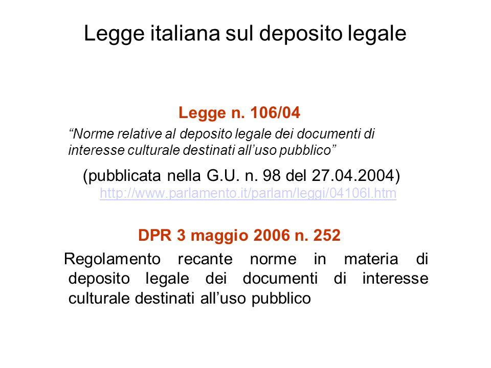 Legge italiana sul deposito legale Legge n.