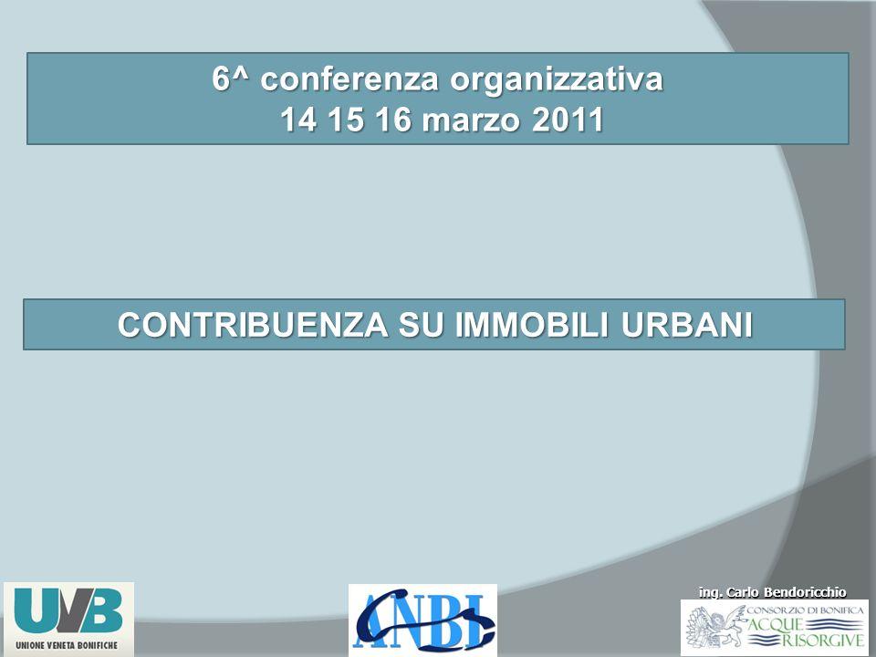 ing. Carlo Bendoricchio 6^ conferenza organizzativa 14 15 16 marzo 2011 14 15 16 marzo 2011 CONTRIBUENZA SU IMMOBILI URBANI