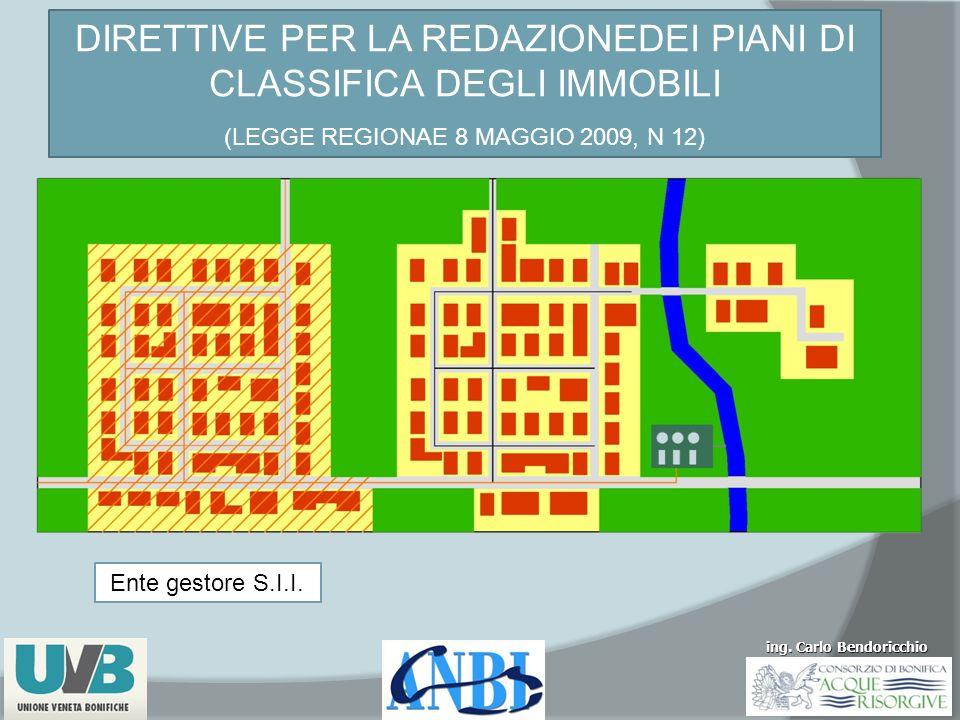 ing. Carlo Bendoricchio DIRETTIVE PER LA REDAZIONEDEI PIANI DI CLASSIFICA DEGLI IMMOBILI (LEGGE REGIONAE 8 MAGGIO 2009, N 12) Ente gestore S.I.I.