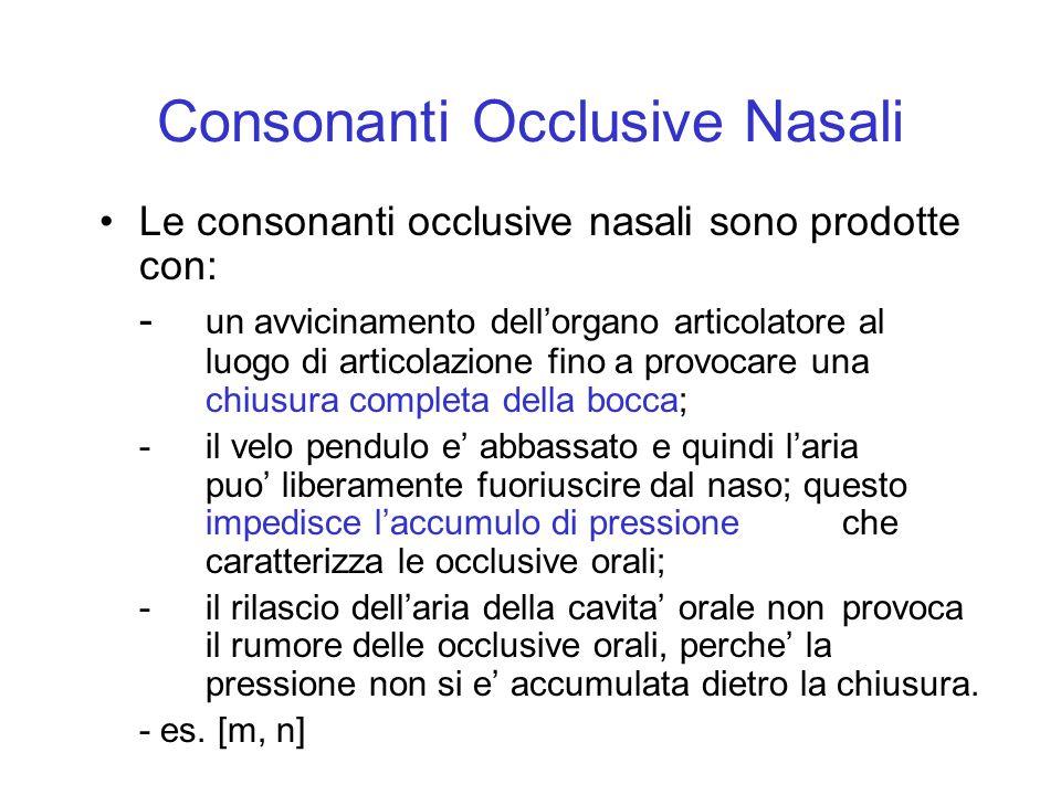 Consonanti Occlusive Nasali Le consonanti occlusive nasali sono prodotte con: - un avvicinamento dellorgano articolatore al luogo di articolazione fin