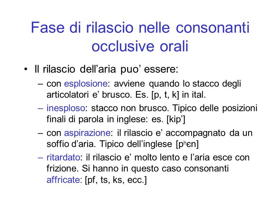 Fase di rilascio nelle consonanti occlusive orali Il rilascio dellaria puo essere: –con esplosione: avviene quando lo stacco degli articolatori e brus