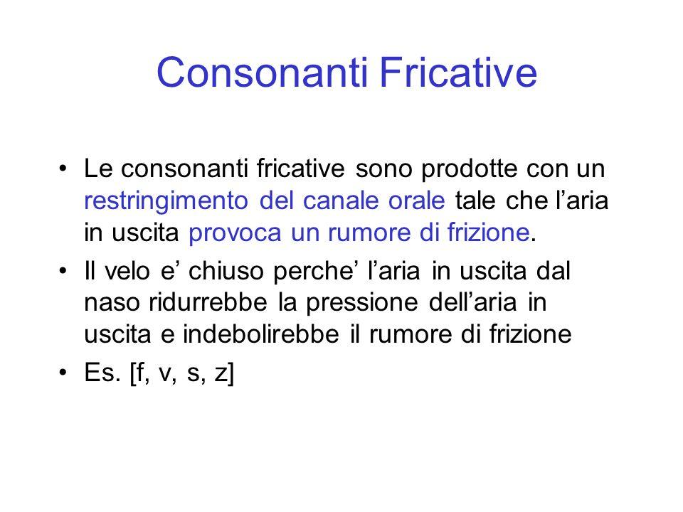 Consonanti Fricative Le consonanti fricative sono prodotte con un restringimento del canale orale tale che laria in uscita provoca un rumore di frizio