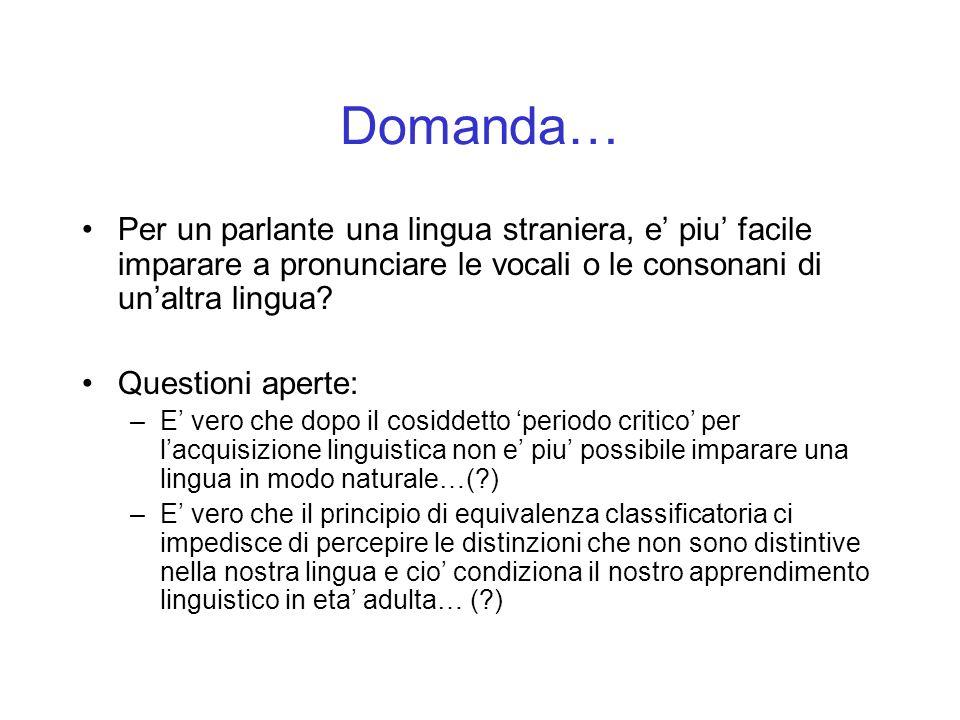 Domanda… Per un parlante una lingua straniera, e piu facile imparare a pronunciare le vocali o le consonani di unaltra lingua? Questioni aperte: –E ve