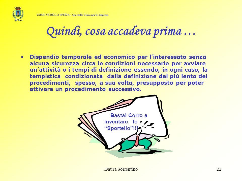 Daura Sorrentino21 Infatti, con il procedimento … ante Sportello Il nostro Carpentiere doveva recarsi presso: - Comune, Amministrazione Provinciale, A.U.S.L., A.R.P.A.L., A.C.A.M.