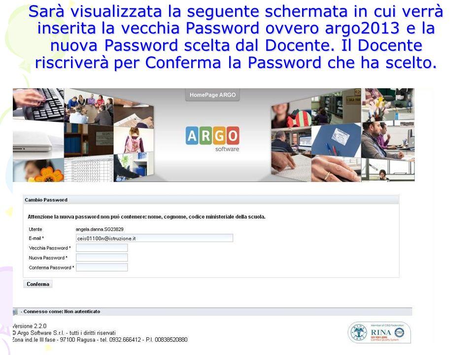 Sarà visualizzata la seguente schermata in cui verrà inserita la vecchia Password ovvero argo2013 e la nuova Password scelta dal Docente. Il Docente r