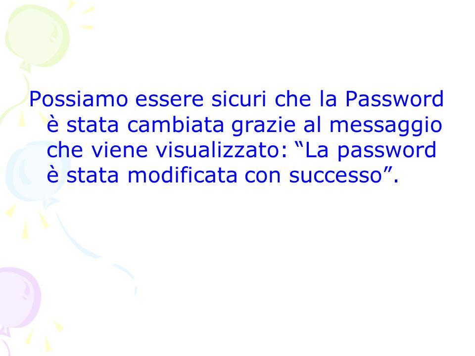 Possiamo essere sicuri che la Password è stata cambiata grazie al messaggio che viene visualizzato: La password è stata modificata con successo.