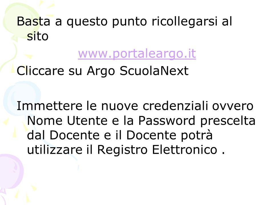 Basta a questo punto ricollegarsi al sito www.portaleargo.it Cliccare su Argo ScuolaNext Immettere le nuove credenziali ovvero Nome Utente e la Passwo