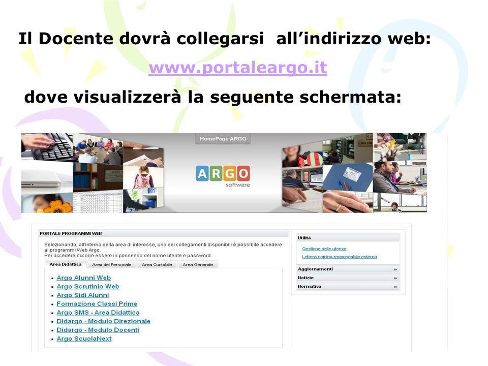 Il Docente dovrà collegarsi allindirizzo web: www.portaleargo.it dove visualizzerà la seguente schermata: