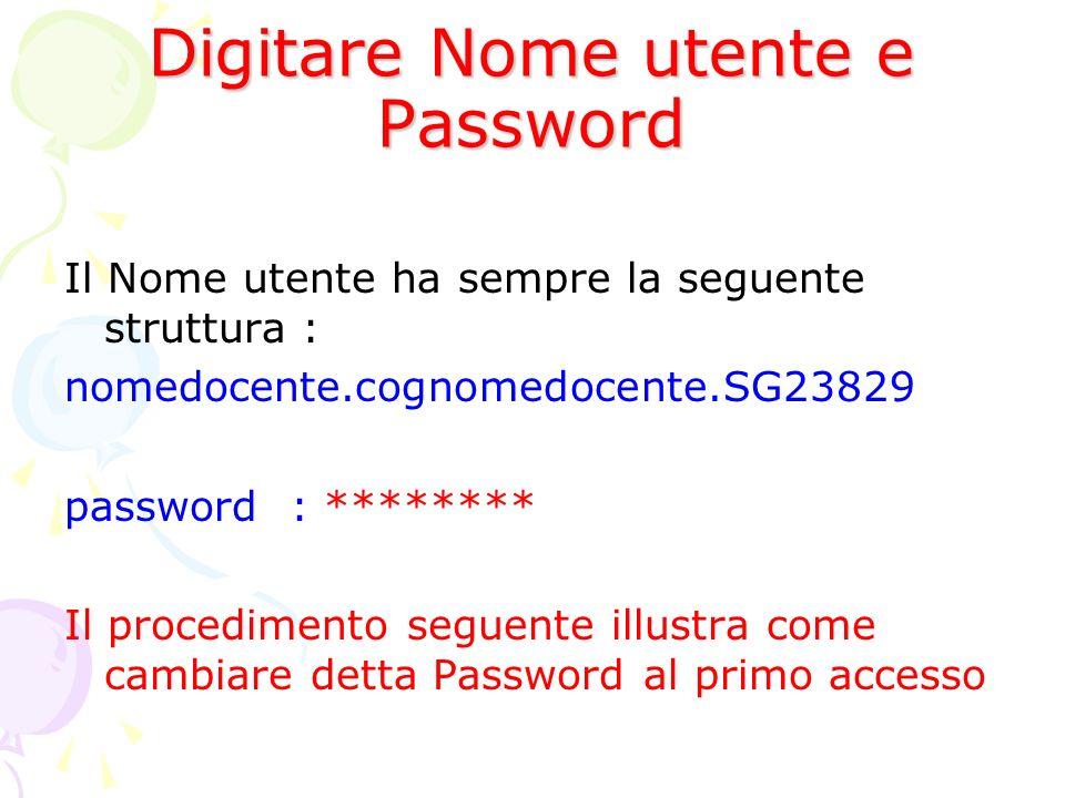 Digitare Nome utente e Password Il Nome utente ha sempre la seguente struttura : nomedocente.cognomedocente.SG23829 password : ******** Il procediment