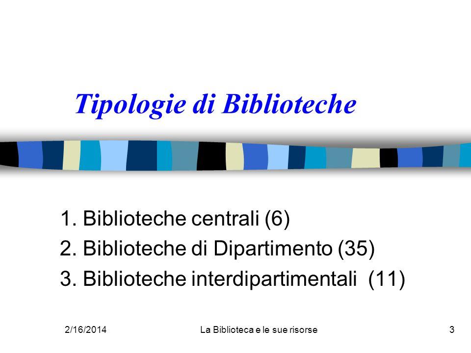 2/16/2014La Biblioteca e le sue risorse3 Tipologie di Biblioteche 1. Biblioteche centrali (6) 2. Biblioteche di Dipartimento (35) 3. Biblioteche inter